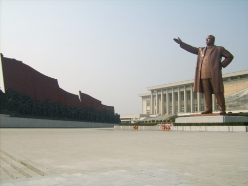 Kim Il Sung at 65 feet tall and in bronze atop the Mansu Hill